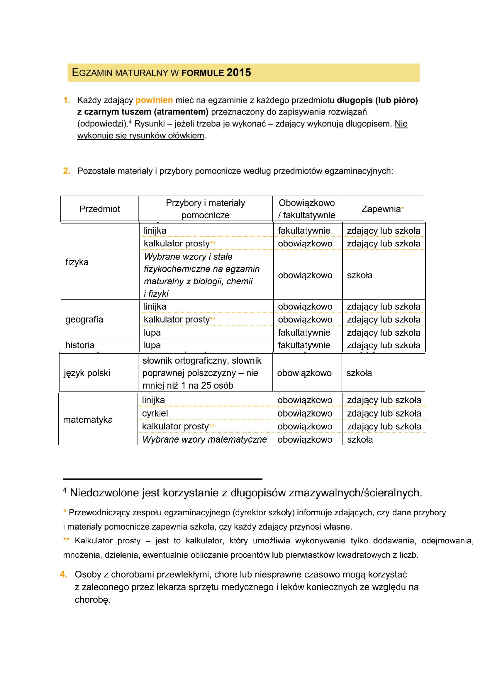 Informacje dla maturzystów